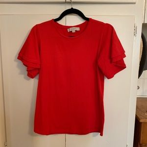 EUC Loft Red Bell Sleeve Tee Size Small